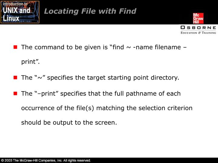 Locating File with Find