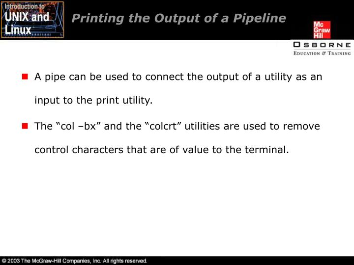 Printing the Output of a Pipeline