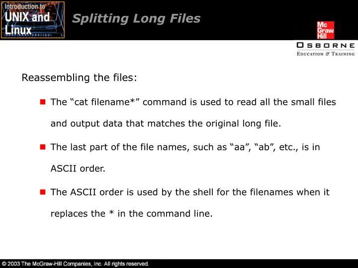 Splitting Long Files