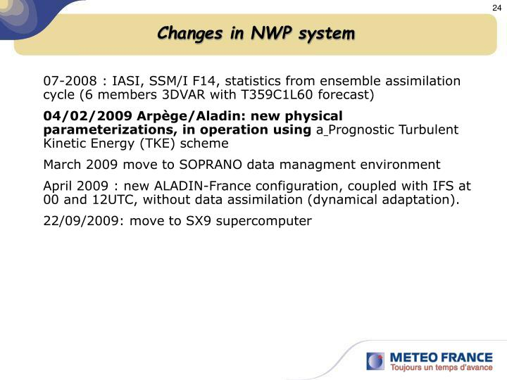Changes in NWP system