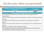 did the study affect you personally