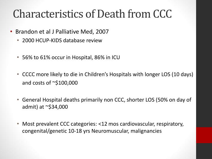 Characteristics of Death from CCC