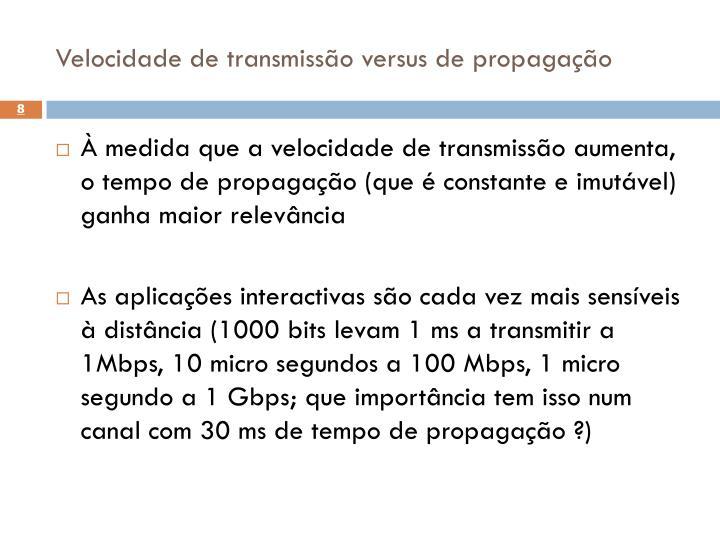 Velocidade de transmissão versus de propagação