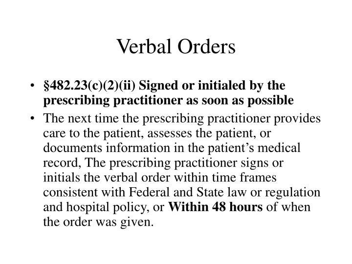 Verbal Orders