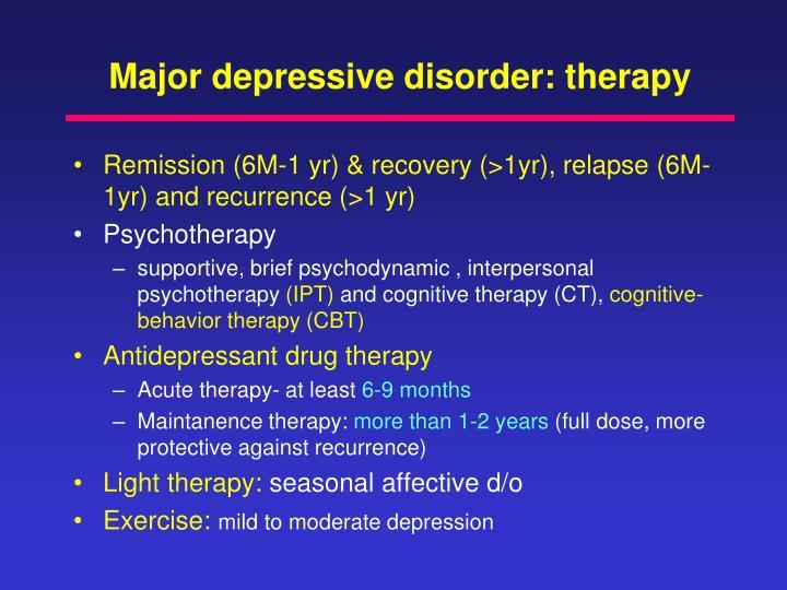 Major depressive disorder: therapy