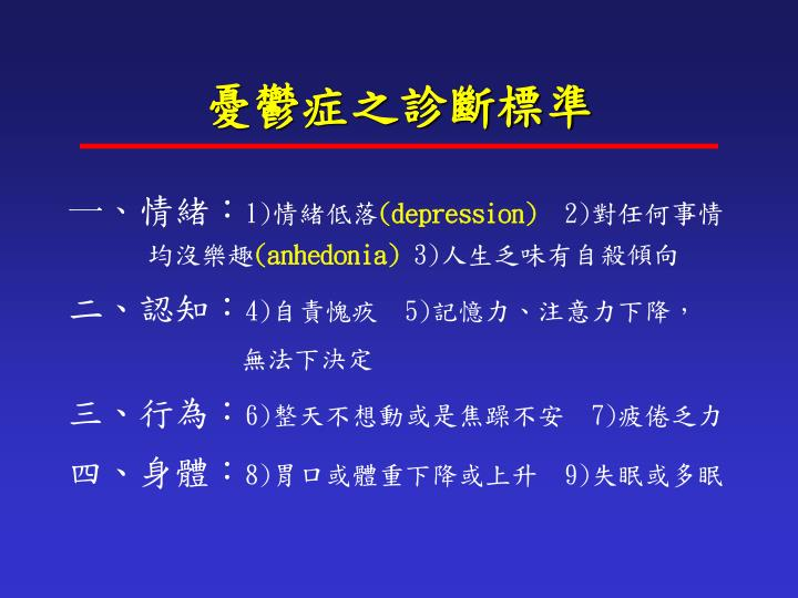 憂鬱症之診斷標準