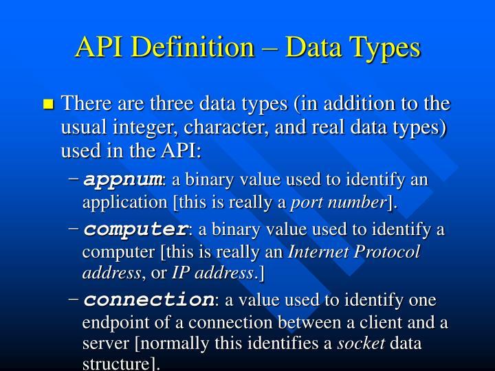 API Definition – Data Types