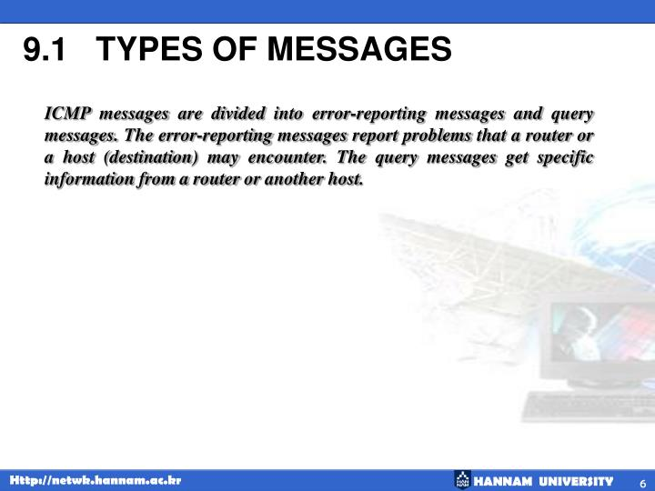 9.1   TYPES OF MESSAGES