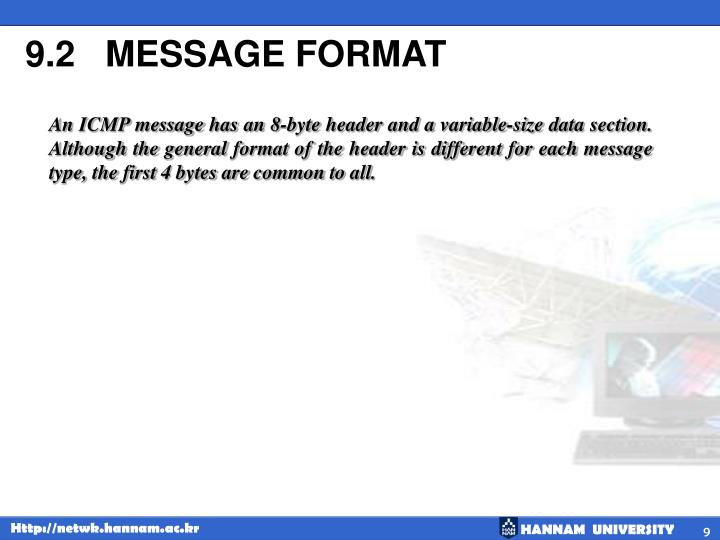 9.2   MESSAGE FORMAT