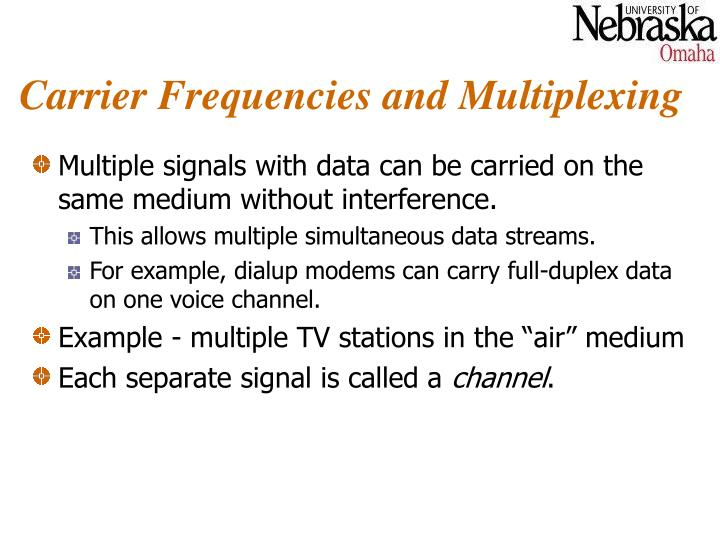Carrier Frequencies and Multiplexing