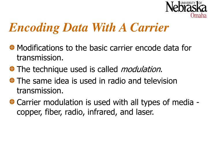Encoding Data With A Carrier