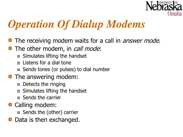 Operation Of Dialup Modems