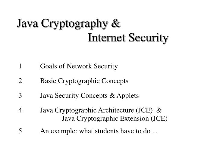 Java cryptography internet security