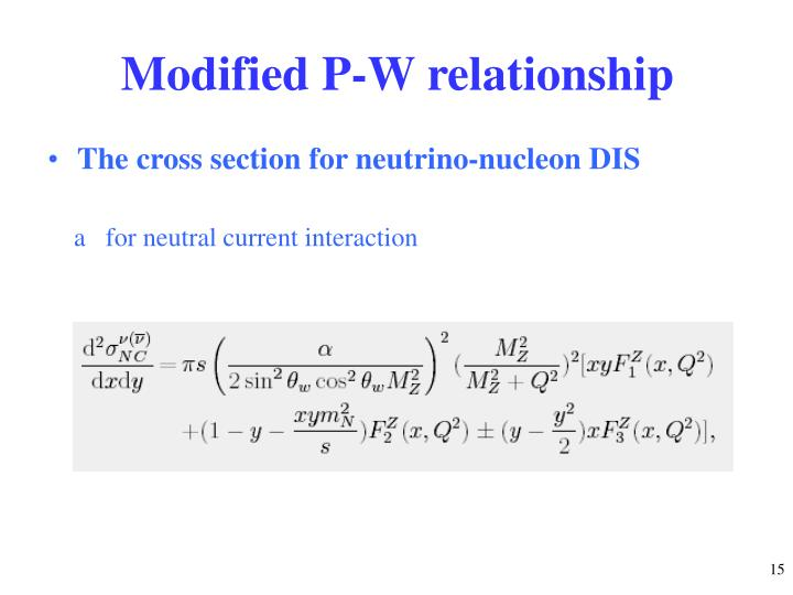 Modified P-W relationship