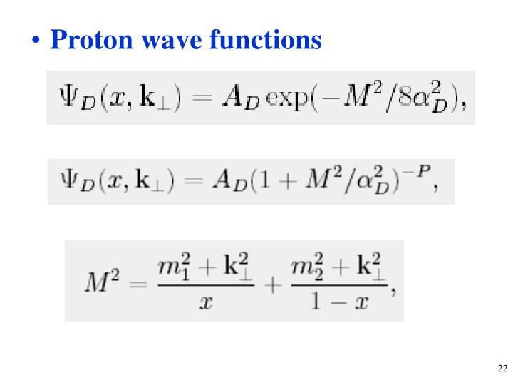 Proton wave functions