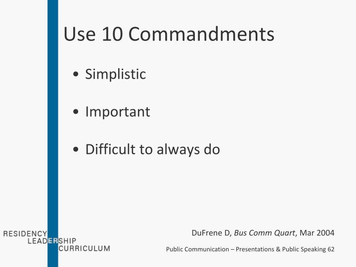 Use 10 Commandments