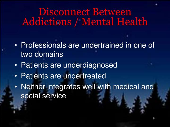 Disconnect Between Addictions / Mental Health
