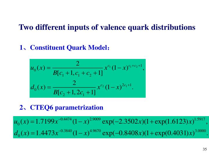 Two different inputs of valence quark distributions