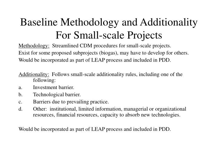 Baseline Methodology and Additionality