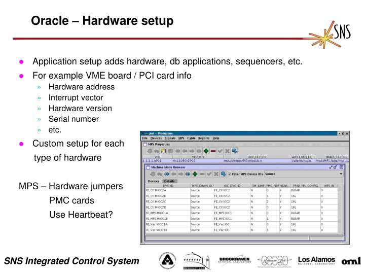 Oracle – Hardware setup
