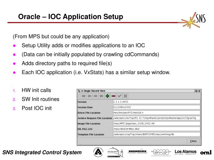 Oracle – IOC Application Setup