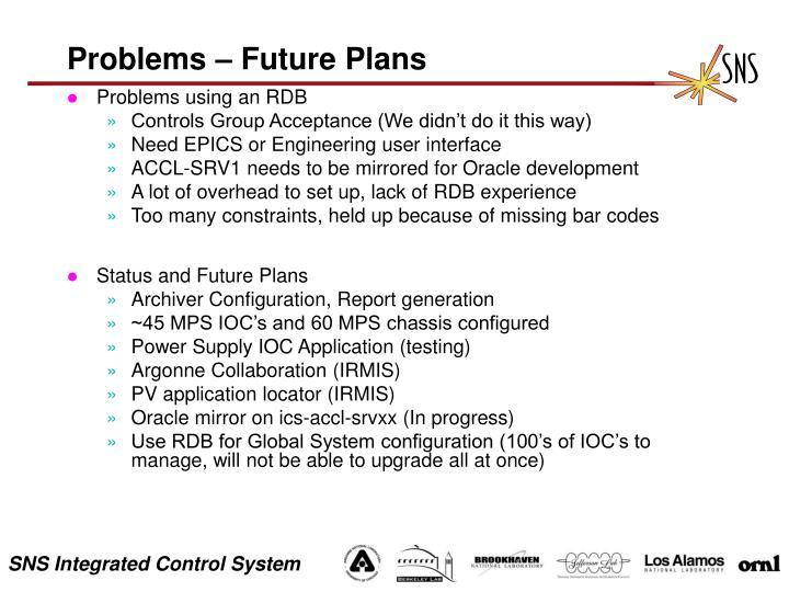 Problems – Future Plans