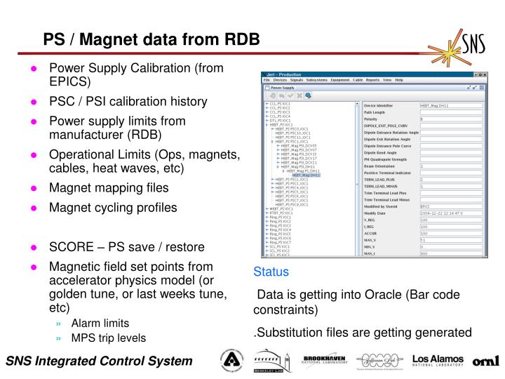 PS / Magnet data from RDB