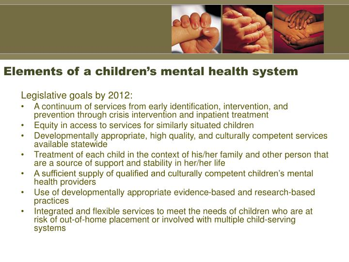 Elements of a children's mental health system