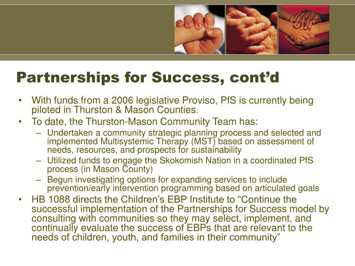 Partnerships for Success, cont'd