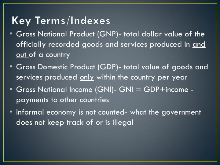 Key Terms/Indexes