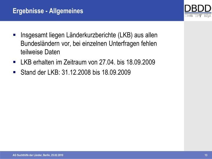 Ergebnisse - Allgemeines