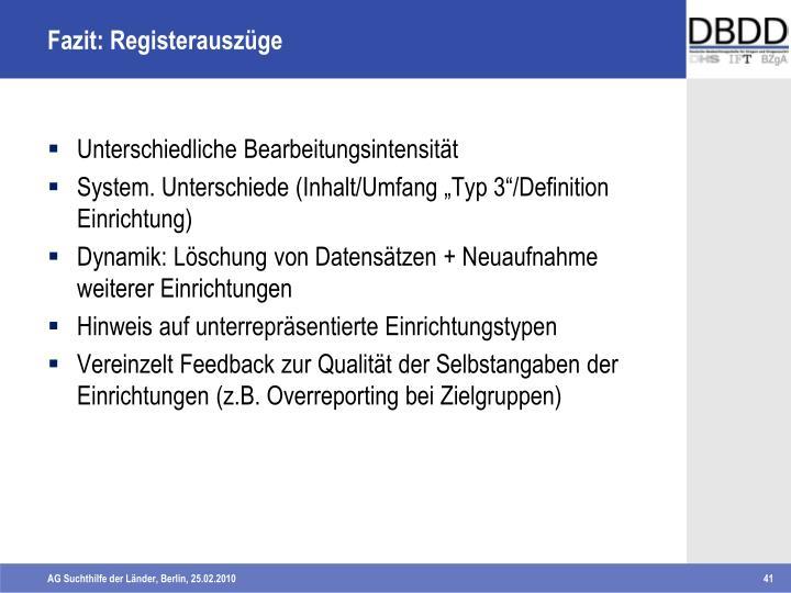 Fazit: Registerauszüge