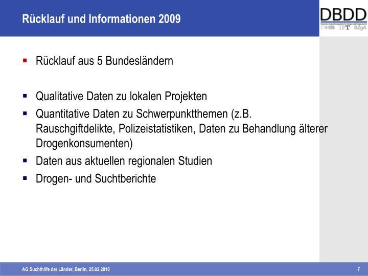 Rücklauf und Informationen 2009