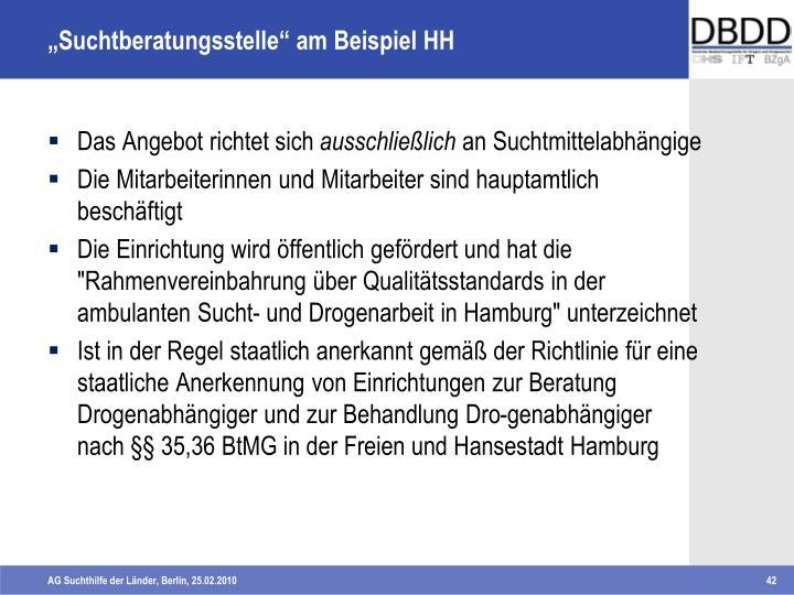 """""""Suchtberatungsstelle"""" am Beispiel HH"""