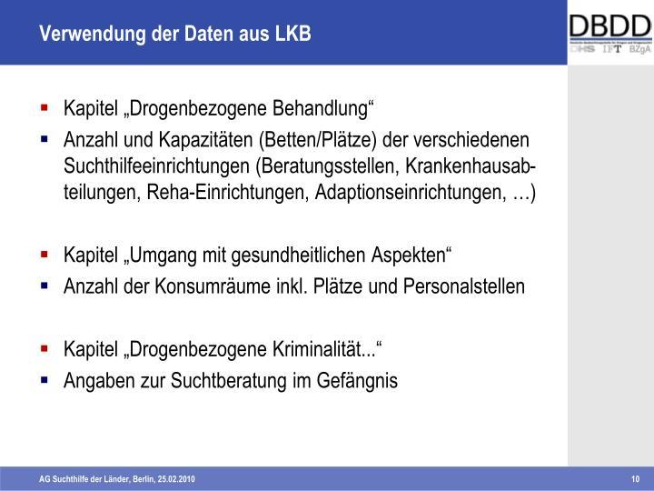 Verwendung der Daten aus LKB