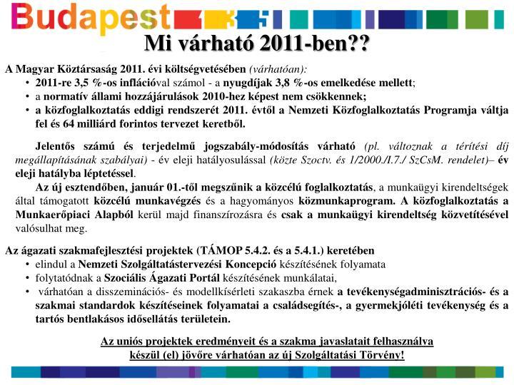Mi várható 2011-ben??