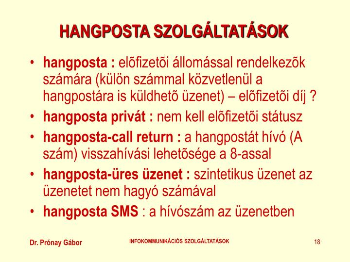 HANGPOSTA SZOLGÁLTATÁSOK