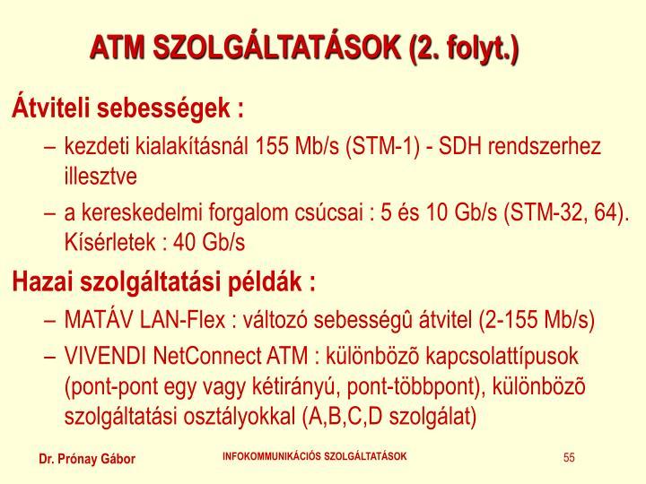 ATM SZOLGÁLTATÁSOK (2. folyt.)