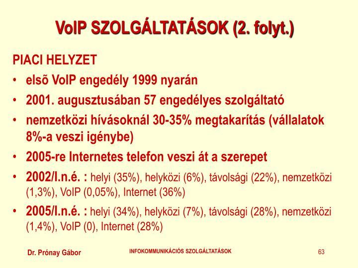 VoIP SZOLGÁLTATÁSOK (2. folyt.)