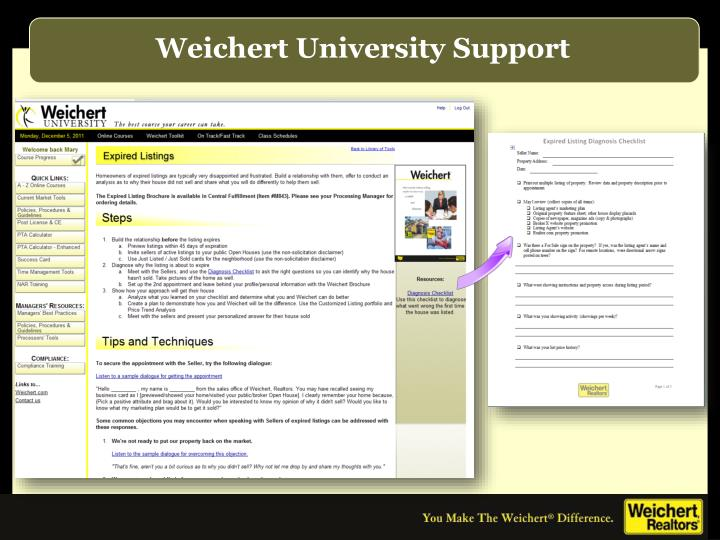 Weichert University Support