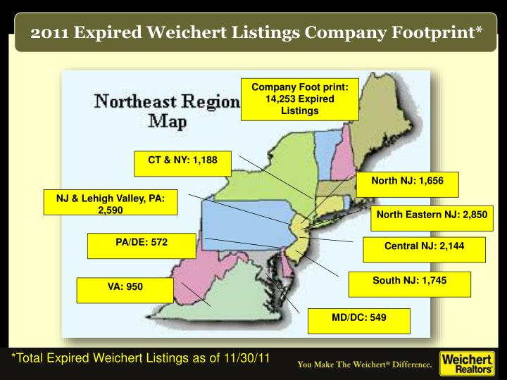 2011 Expired Weichert Listings Company Footprint*