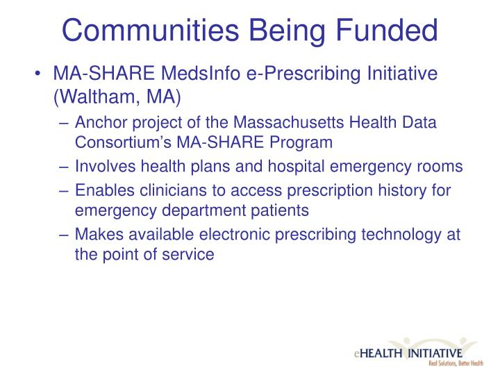 Communities Being Funded