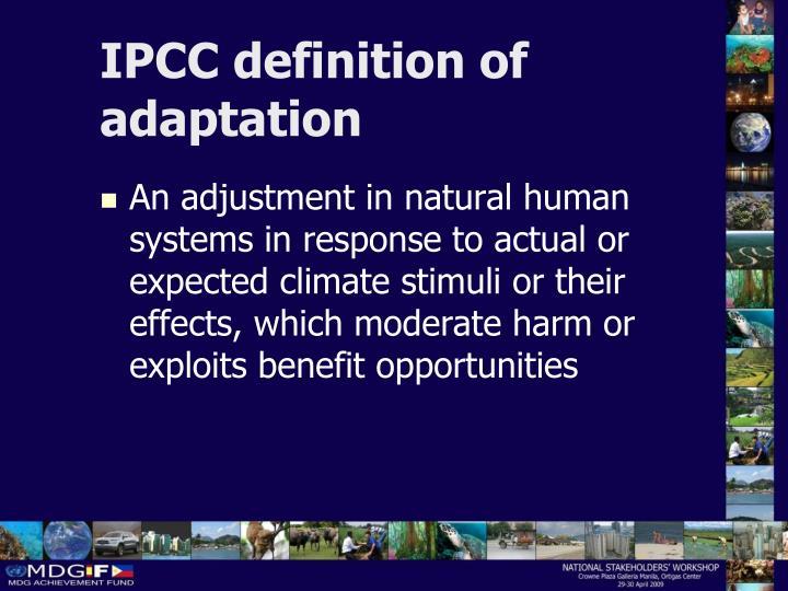 IPCC definition of adaptation