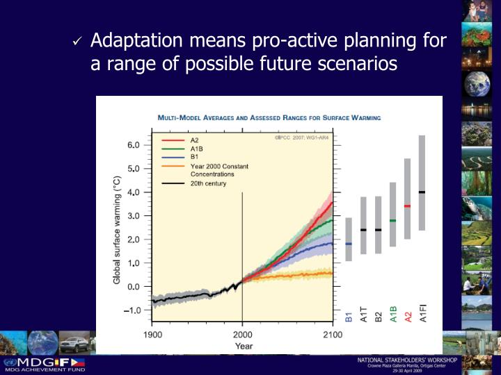 Adaptation means pro-active planning for a range of possible future scenarios