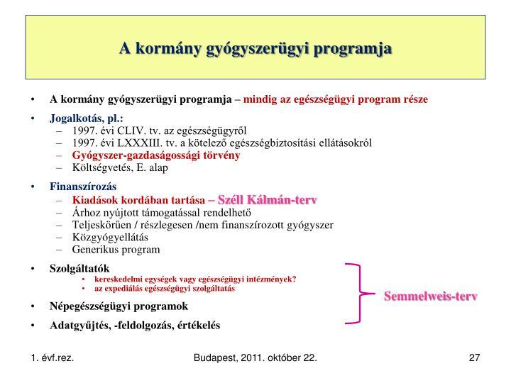 A kormány gyógyszerügyi programja