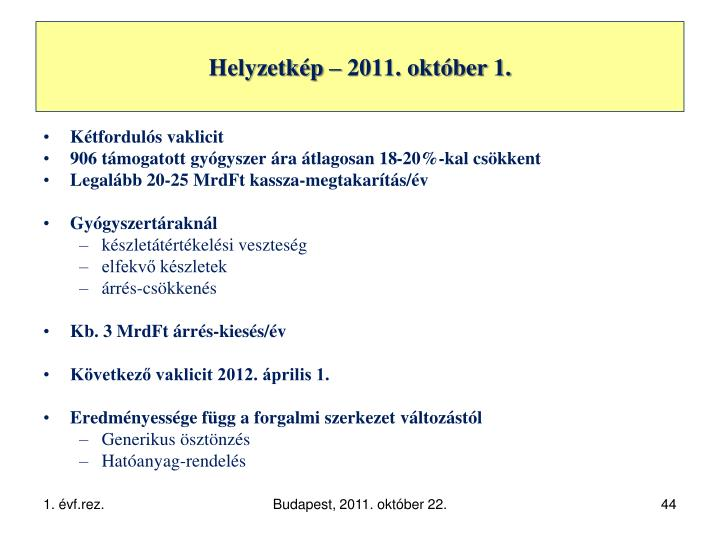 Helyzetkép – 2011. október 1.