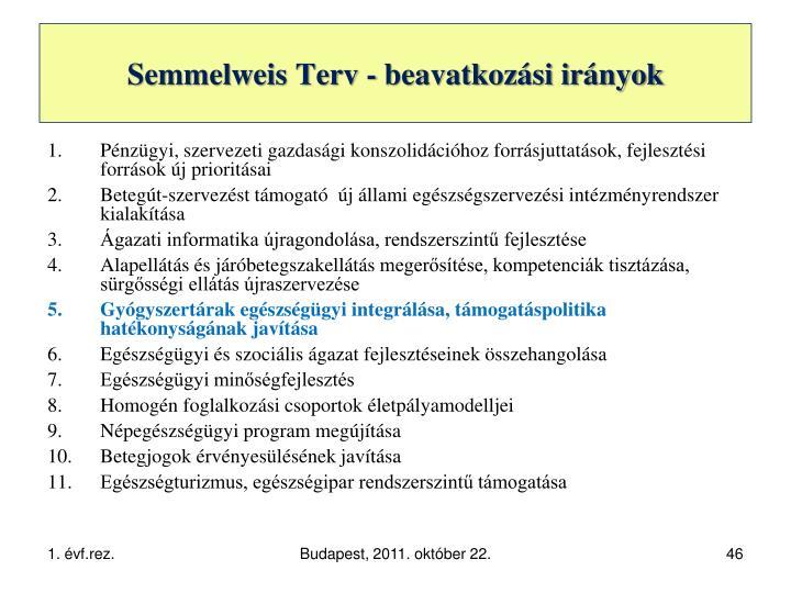 Semmelweis Terv - beavatkozási irányok