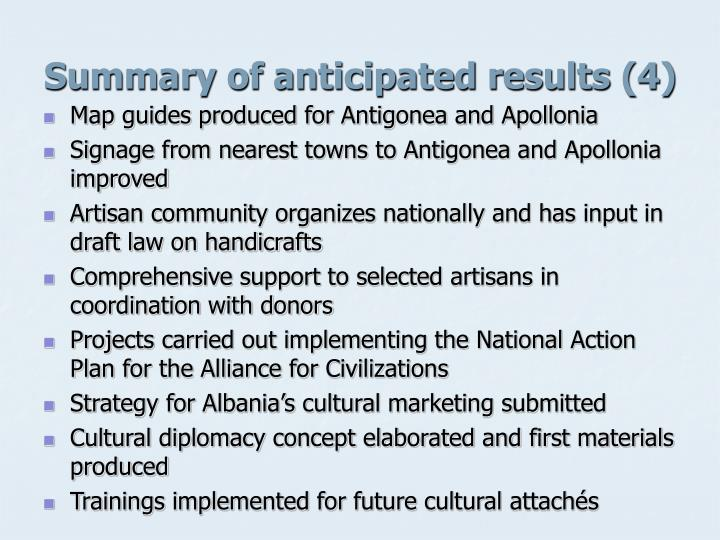 Summary of anticipated results (4)