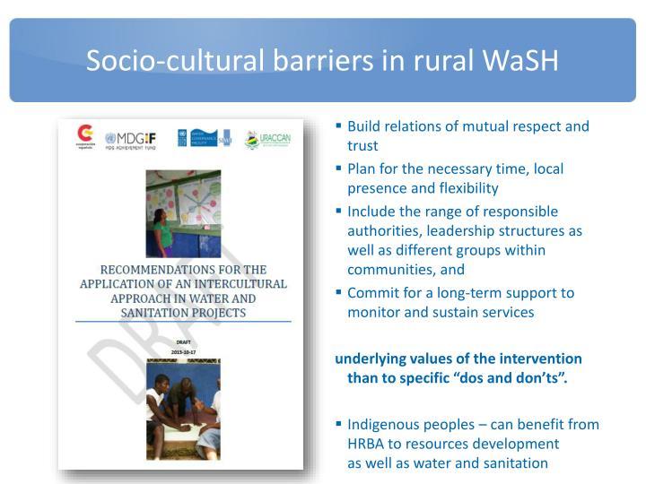 Socio-cultural barriers in rural WaSH