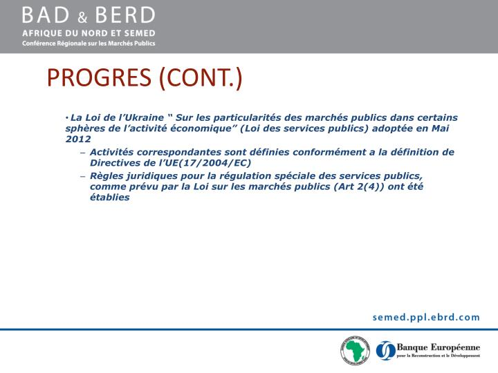 PROGRES (CONT.)